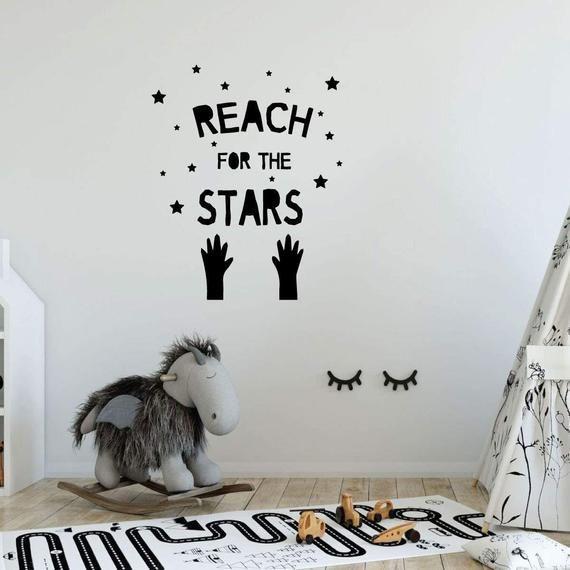 Stickers muraux pour enfants – Atteindre les étoiles – Conception d'autocollants en vinyle pour …