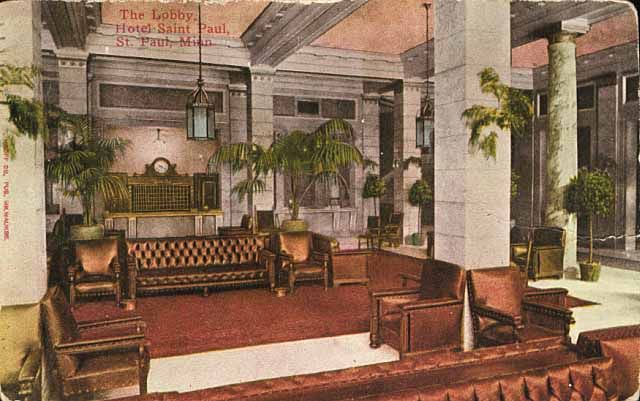 The Lobby Hotel Saint Paul St Mn Ca 1912
