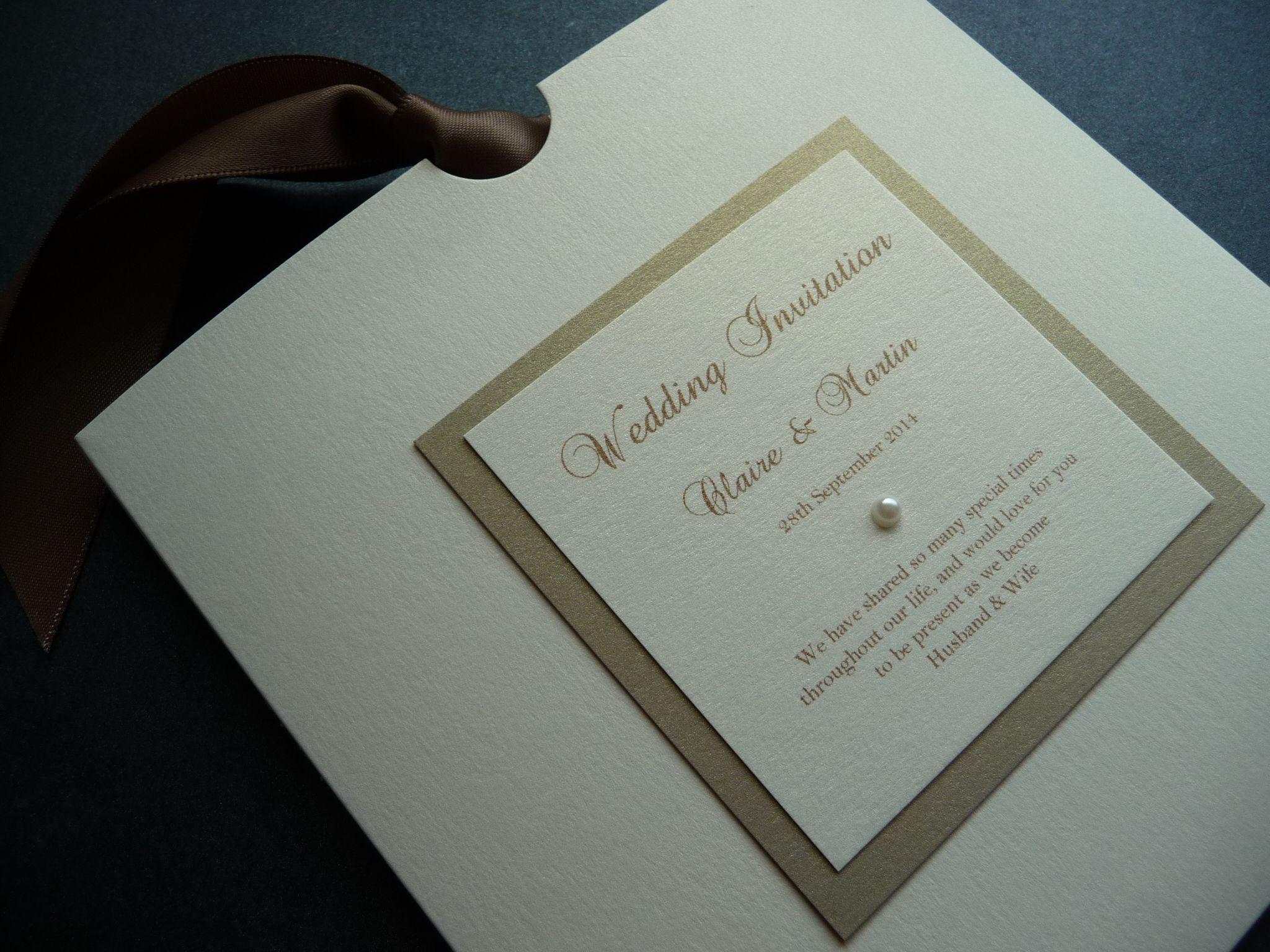 Gold & Ivory Large Square Wallet style Wedding invitation / invite ...