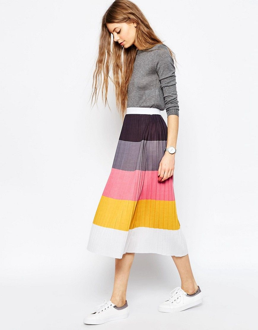 e142dff55b Pleated Midi Skirt in Color Block in 2019 | Style | Skirts | Pleated ...