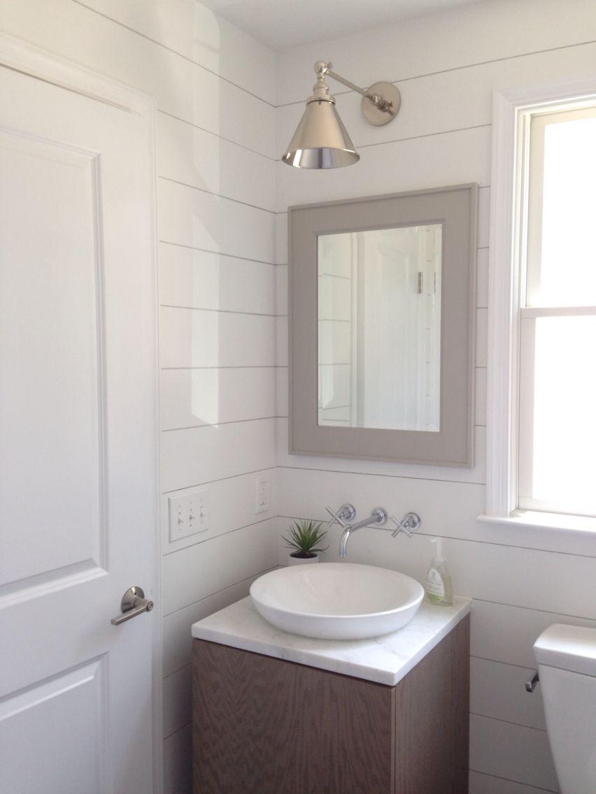 Beach house Mudroom powder room bathroom, shiplap, Pottery Barn ...