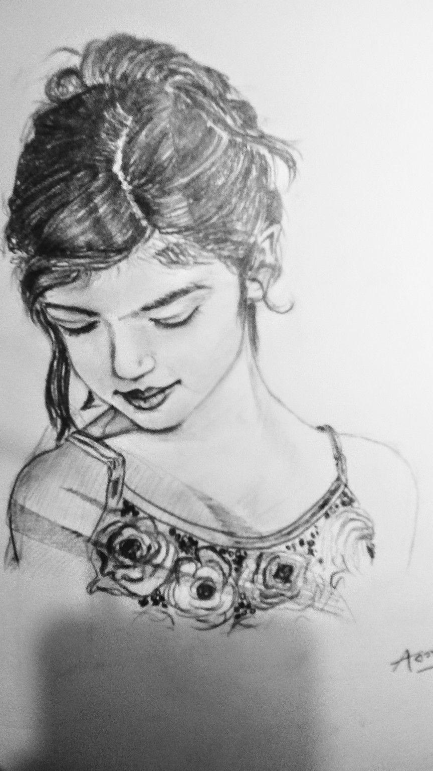 Cute baby girl sketch
