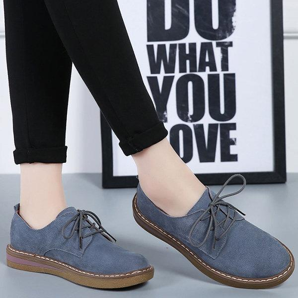 Women/'s Casual Lace up Loafers Shoes Comfort Flats Ladies Spring Flat Heel Shoes