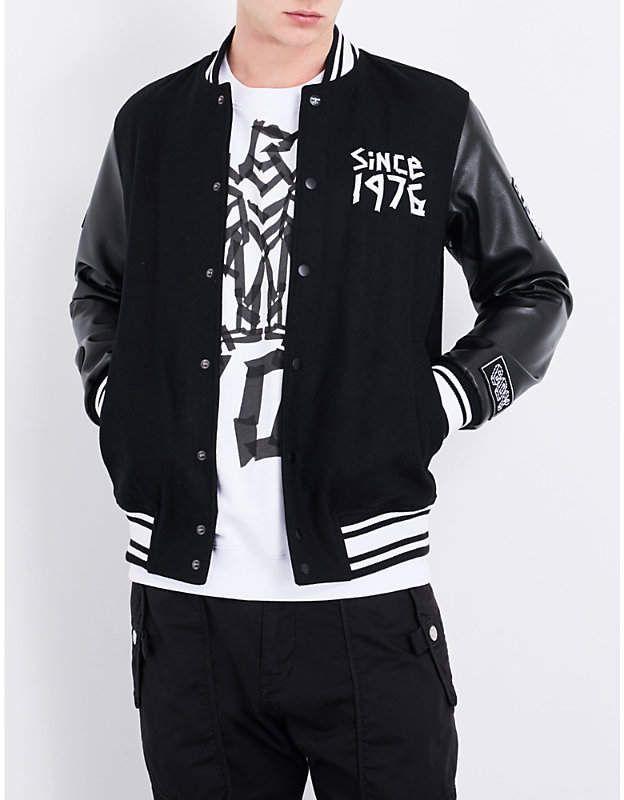 Boy London Eagle tape print wool blend bomber jacket | Mens