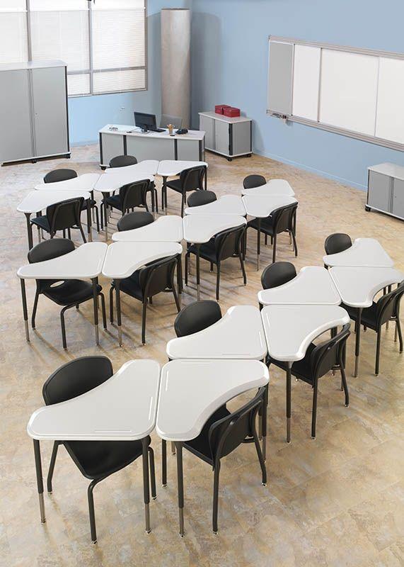 Student desk boomerang shape adjustable height for Sillas para zurdos