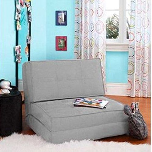 Best Your Zone Flip Chair Convertible Sleeper Dorm Bed Couch Lounger Sofa Multi Color New Grey 400 x 300