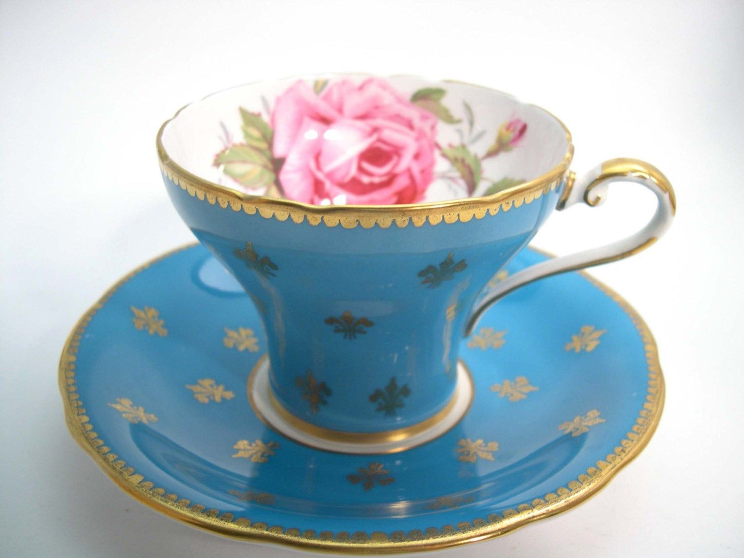 Aynsley tea cup and saucer with Fleur de Lis, Turquoise Blue and gold tea cup set, Pink Rose and Gold Fleur-de-lis #teacups