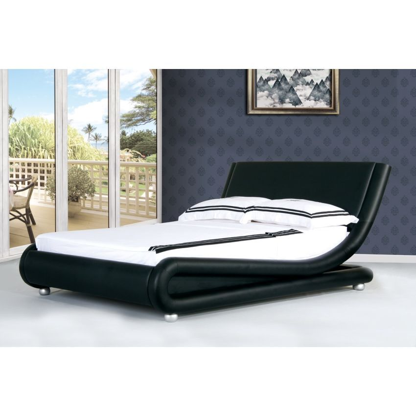Mallorca Folded Queen Bed Frame In Black Leather Buy Queen Bed