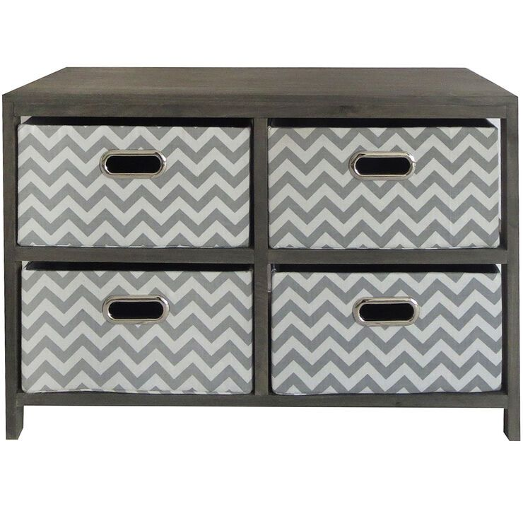 Wood 2x2 Storage Unit With Fabric Drawer Gray Chevron In 2020 Fabric Drawers Grey Chevron Storage Unit