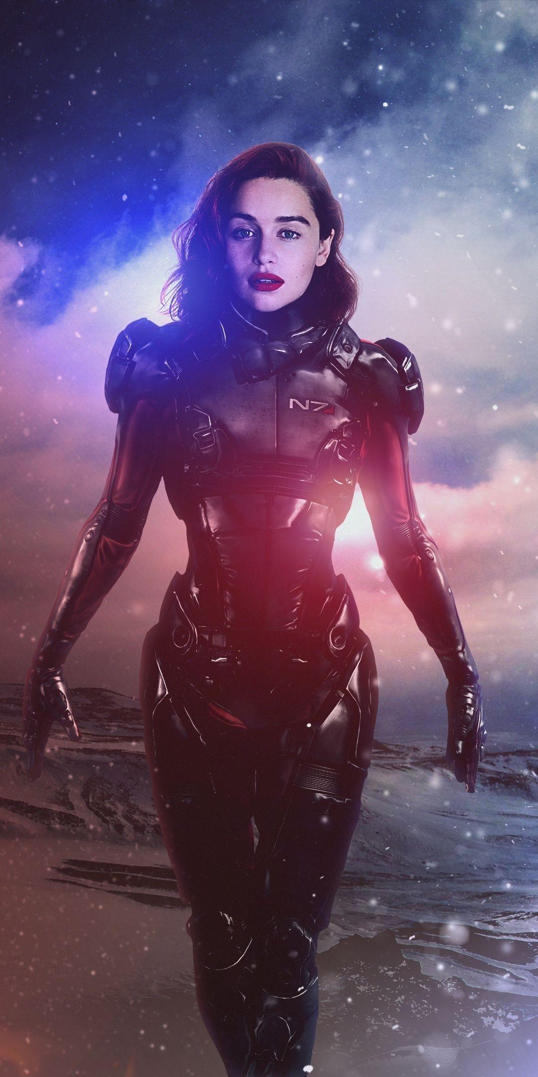 Mass Effect Andromeda Emilia Clarke Video Game Art 1080x2160 Wallpaper Mass Effect Emilia Clarke Mass