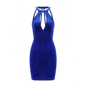 Yoins Cut Out Halter Mini dress with Strap Back in Blue