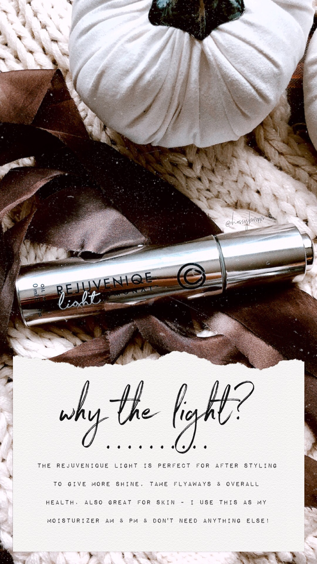 why the light? ••• the rejuvenique light oil is perfect