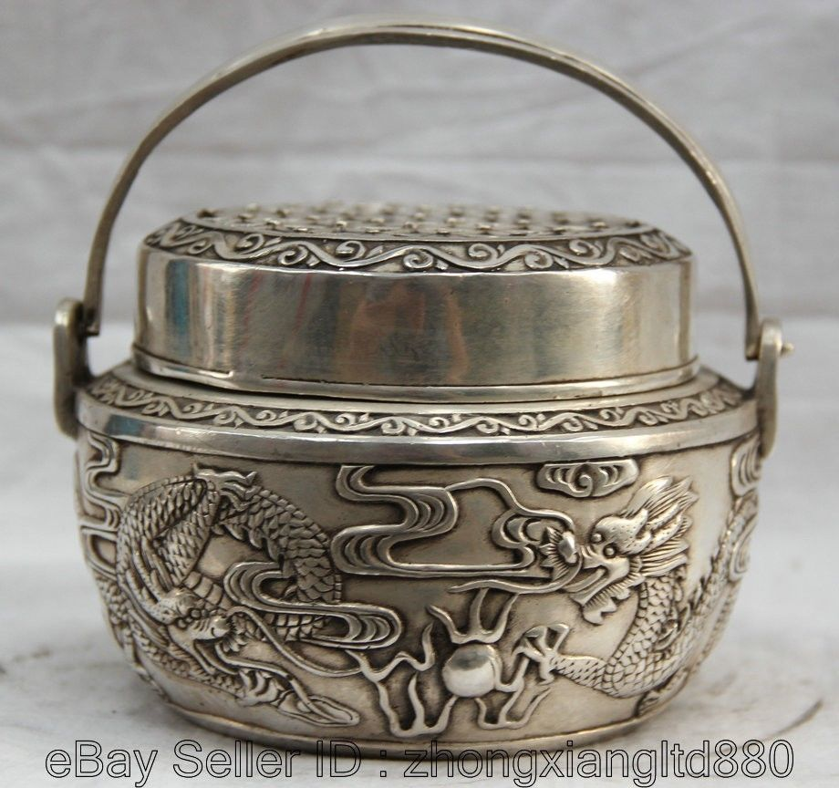 "6"" Chinese Buddhism silver two dragon play pearl portable Incense Burner Censer"