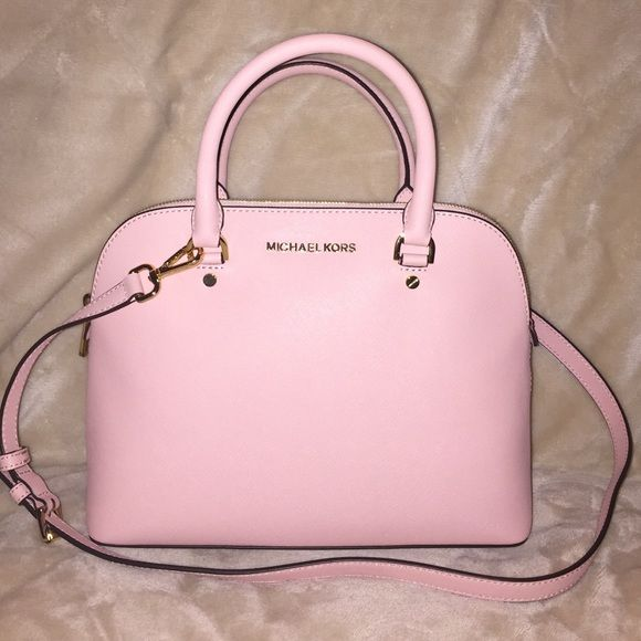 Michael Kors Cindy Dome Satchel Brand New Kore Medium In The Color Pastel Pink With Gold Hardware Includes Long Strap Dust Bag