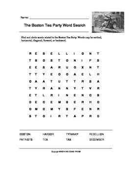 the boston tea party word search grades 2 5 tea parties boston and search. Black Bedroom Furniture Sets. Home Design Ideas