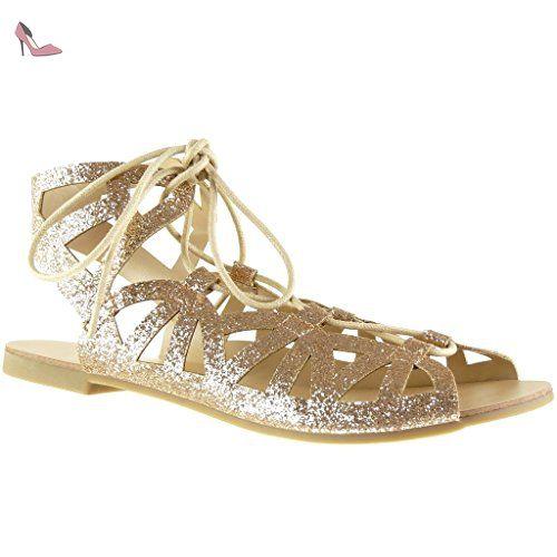 1afcb067492c9 Angkorly - Chaussure Mode Sandale spartiates sexy femme lanière pailettes  multi-bride Talon bloc 1