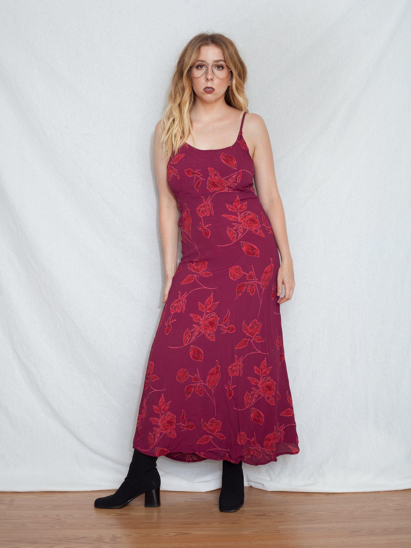 90s red boho dress spaghetti strap dress casual vintage
