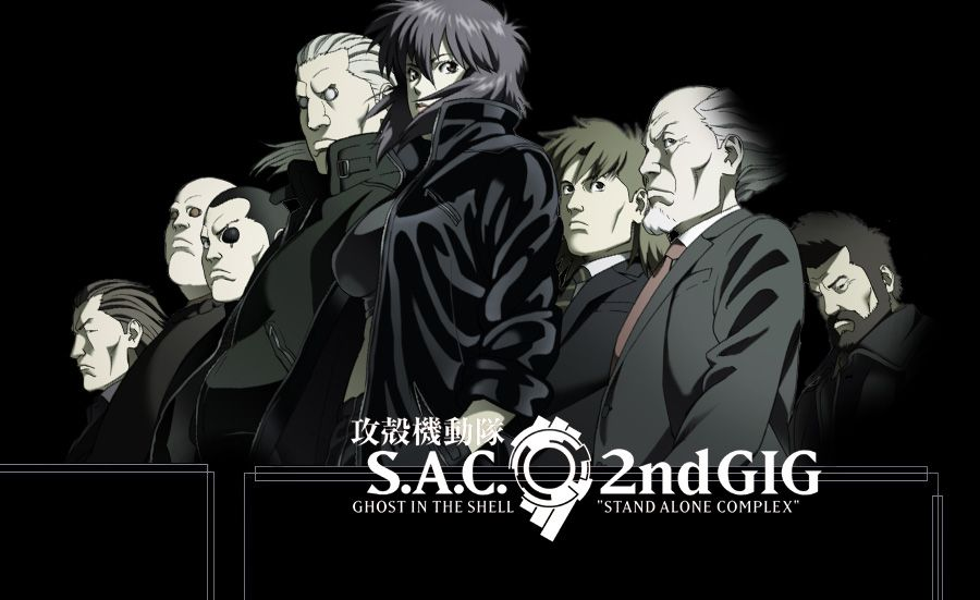 Ghost In The Shell S A C 2nd Gig 2004 2005 The Members Of Section 9 From Left To Right Paz Borma Saito Batou Ghost In The Shell Ghost Motoko Kusanagi