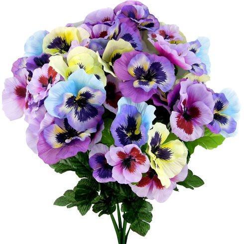 Faux Floral Pansy Flower Bouquet Pansies Flowers Faux Flowers Rose Floral Arrangements