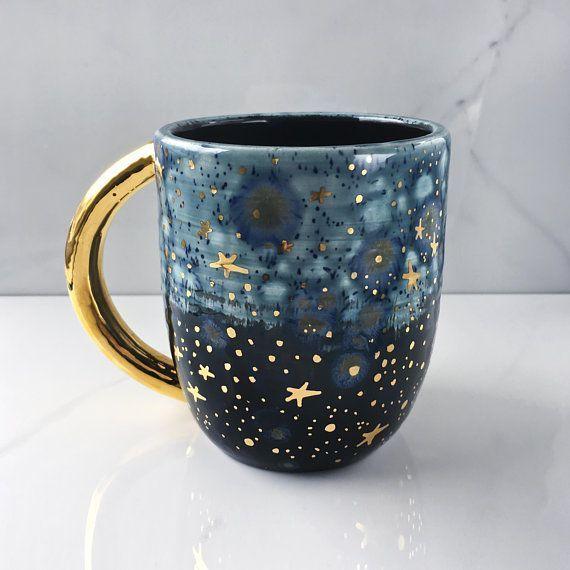Galaxy Mug With 22k Gold by Naomi Singer of Modern Mud