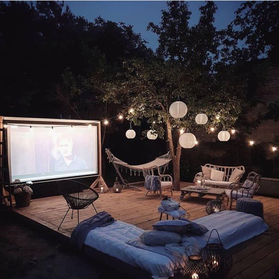 Everything You Need For An Al Fresco Movie In The Comfort Of Your Garden 14 In 2020 Backyard Movie Screen Backyard Movie Theaters Backyard Movie Nights
