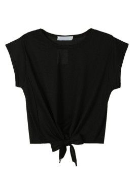 Shop Black Tie Front Crop Top from choies.com