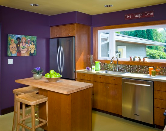 Purple Kitchen Walls With Lime Green Ceiling Bold Colored