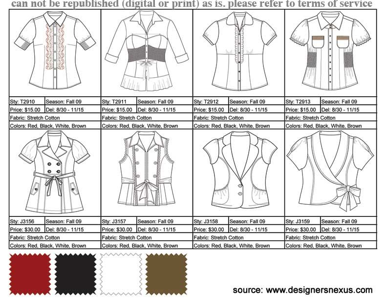 Fashion Line Sheet Example  Tech Packs