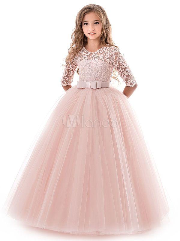 Nouveau dentelle mariage long blanc cassé Fleur Fille Robes de Princesse Partie Enfants Vêtements