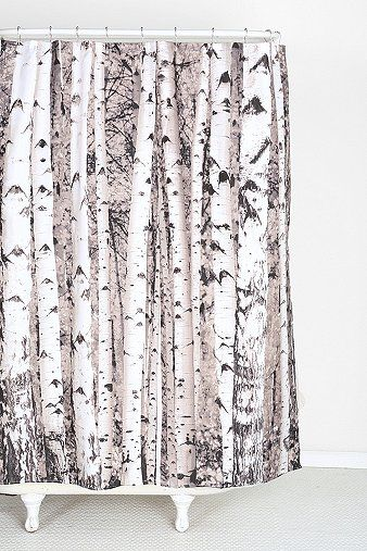 Birch Tree Shower Curtain Vinyl At Urban Outfitters