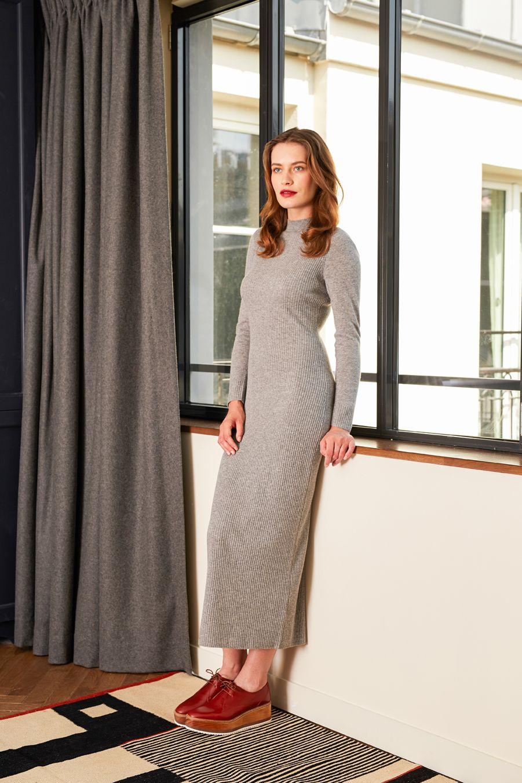 b9542843db3 Robe longue en laine