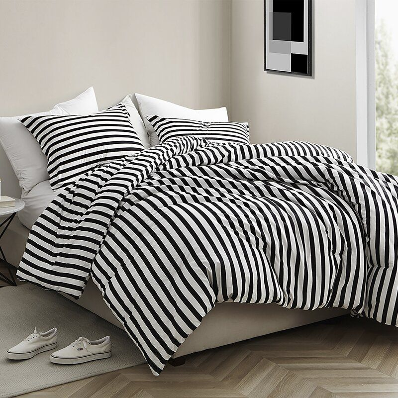 Dorcaster Striped Comforter Set In 2020 Comforter Sets Dorm Bedding Sets Striped Bedding