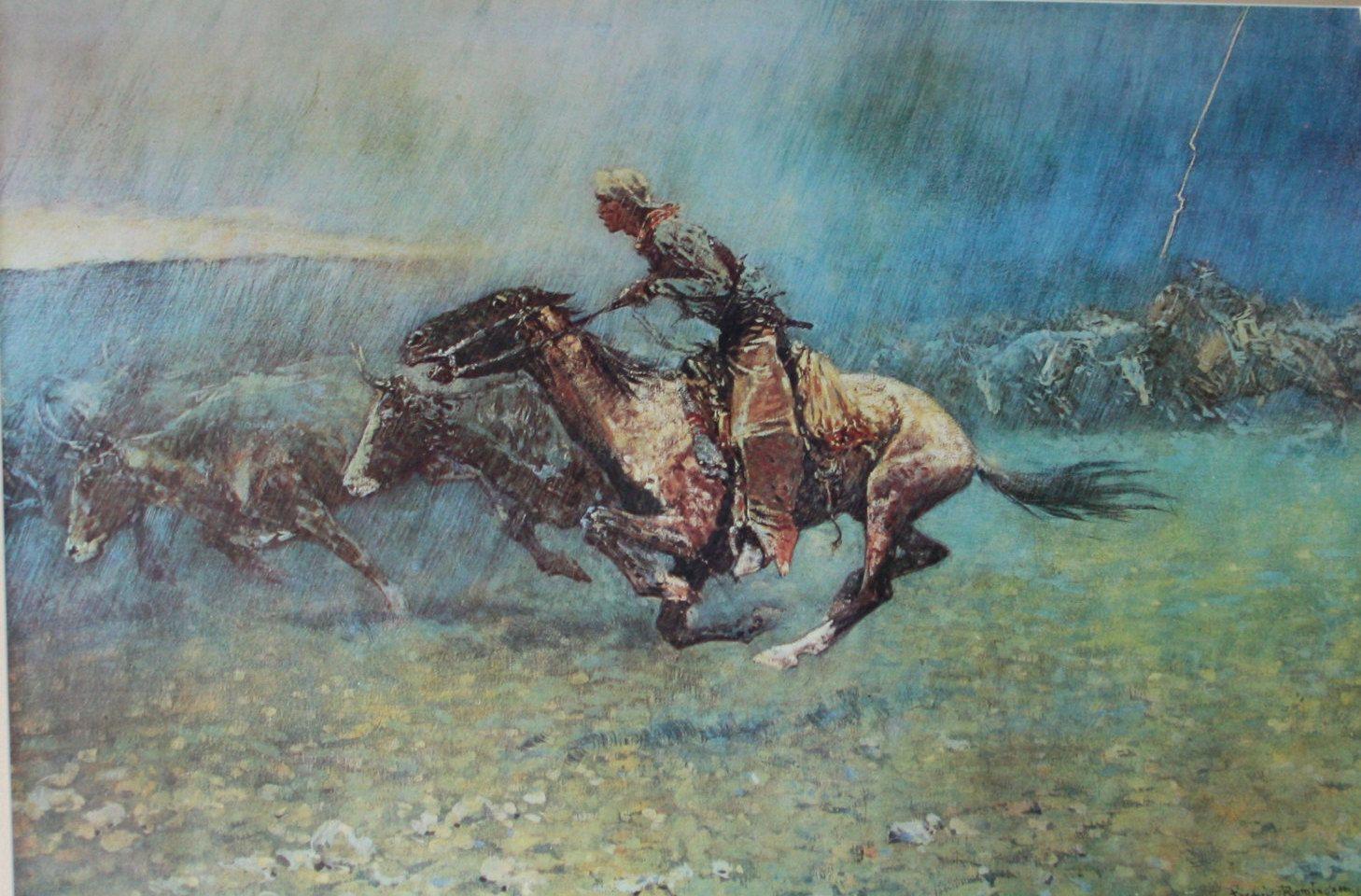 Frederic Remington The Stampede By Lightning 1908 Framed
