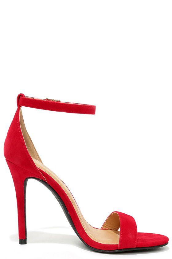 ec68c0b028 Sleek and chic, the LULUS Chloe Red Suede Ankle Strap Heels are our pick of