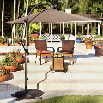 Home decorators collection 10 ft cantilever patio umbrella in mocha with black frame 6249610430