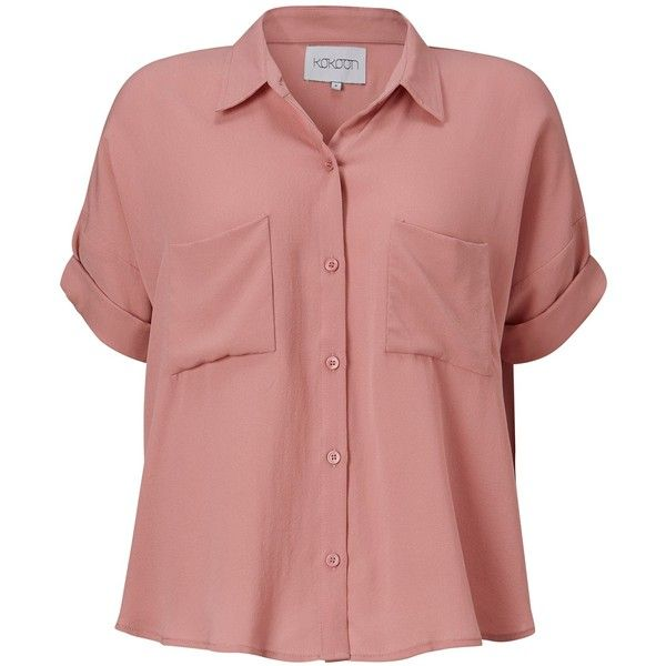 480fdfb6d Kokoon Moby short sleeve silk shirt ($81) ❤ liked on Polyvore featuring tops,  shirts, button up shirt, rosa, red shirt, red top, collared shirt, silk top  ...