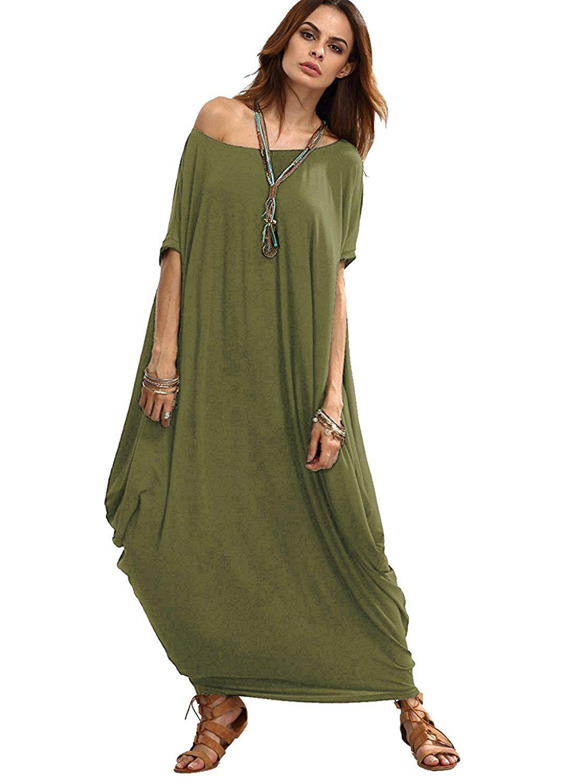 Verdusa Women S Boho One Off Shoulder Caftan Sleeve Harem Maxi Dress