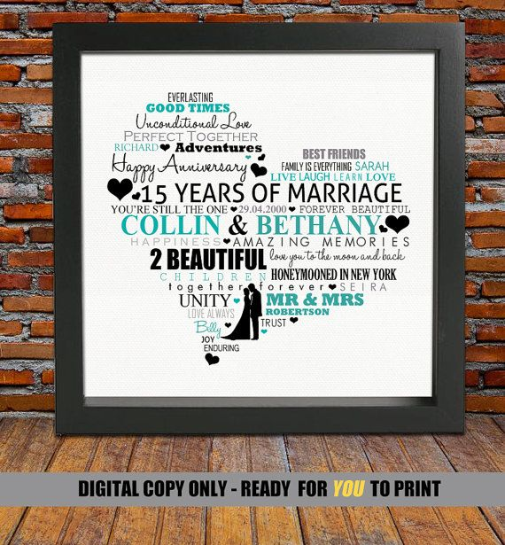 Personalized 15th Anniversary Gift Wedding 15 Years