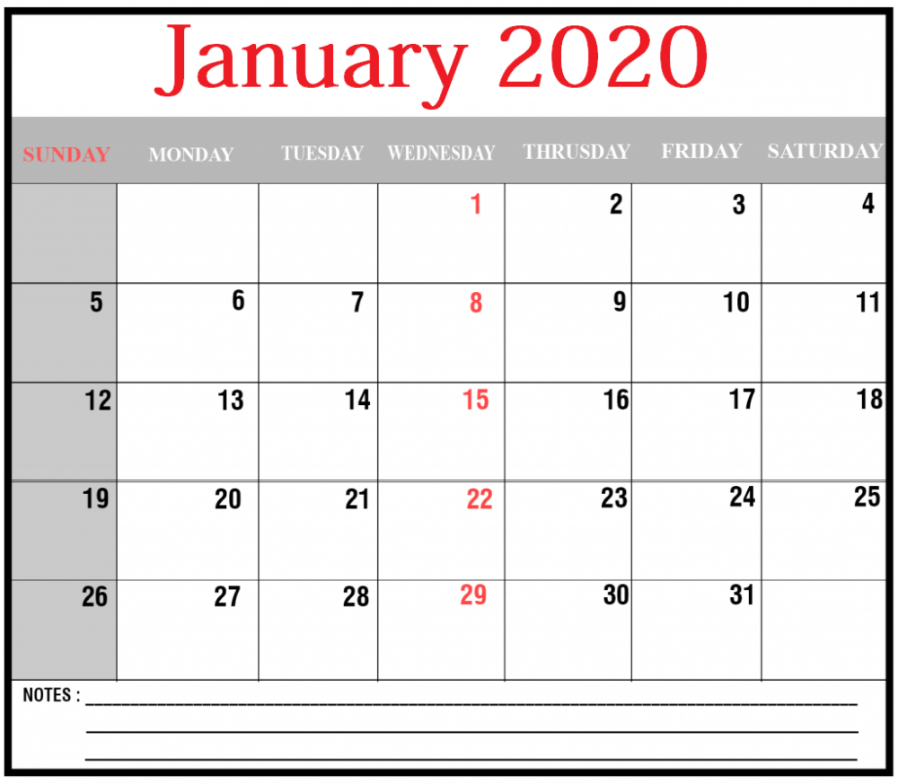 to the January 2020 Calendar, Everyone will be