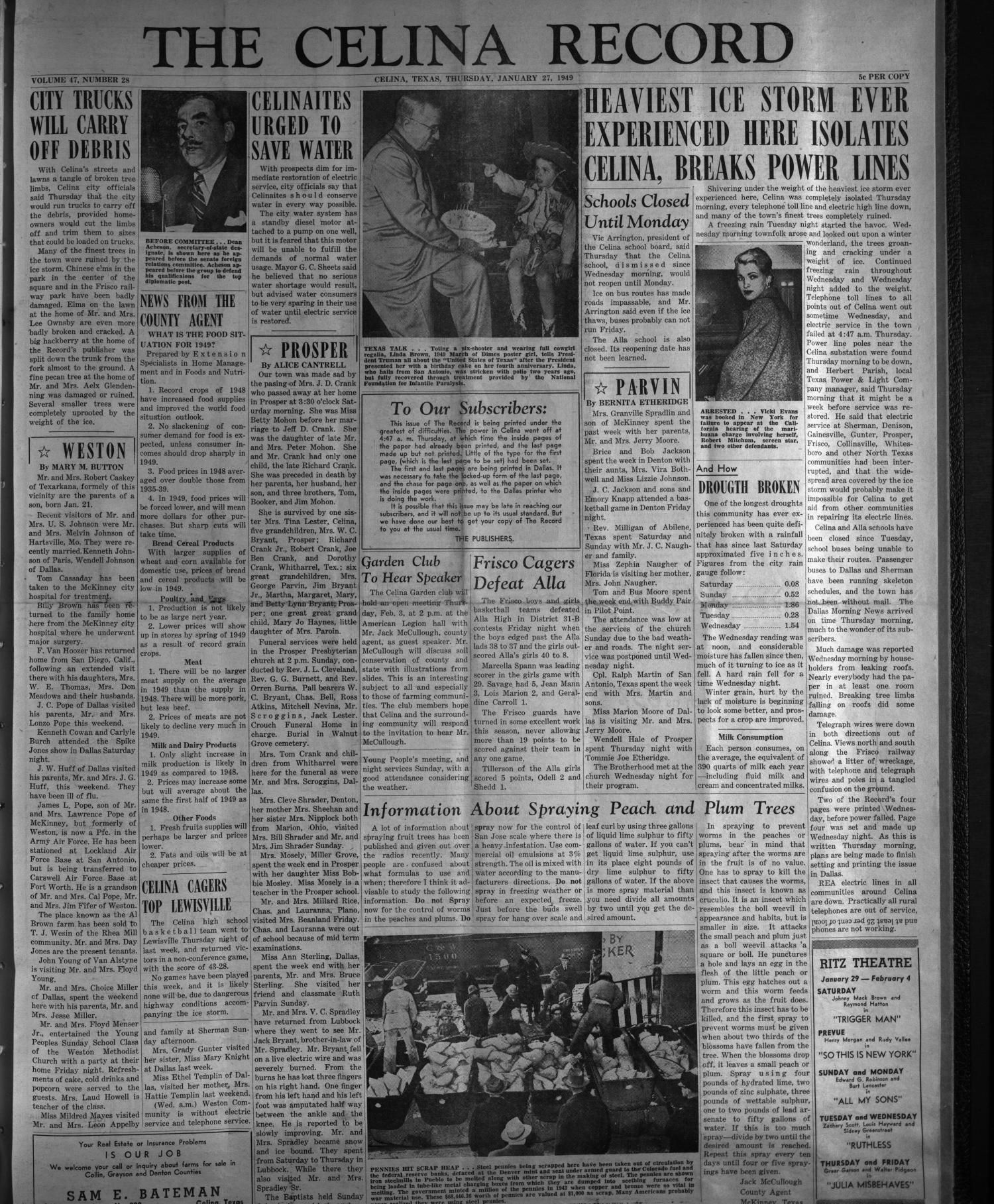 Weekly newspaper from Celina, Texas that includes local, state, and national news along with advertising.