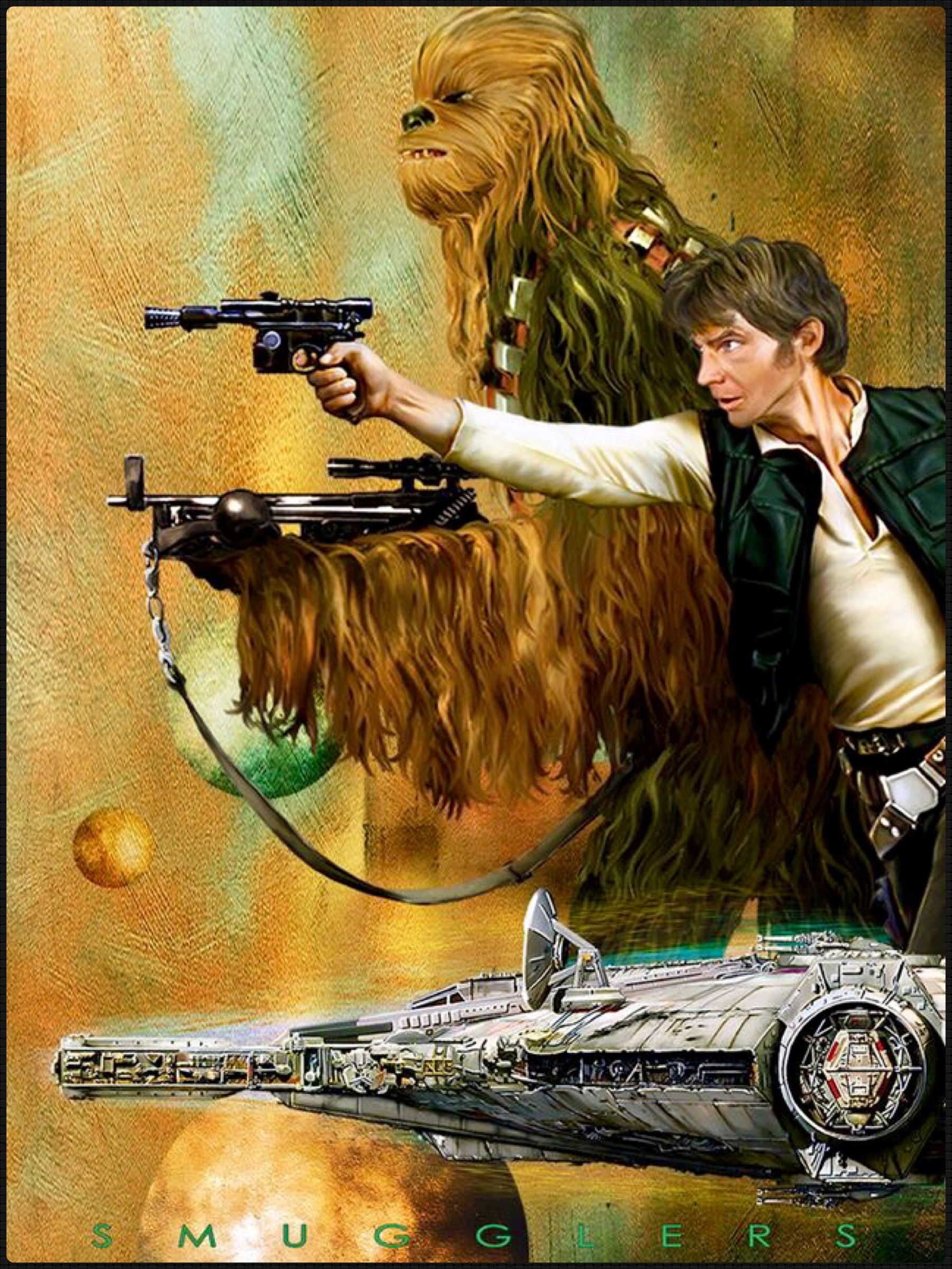 "Han Solo And Chewbacca Star Wars ¹ターウォーズアート Ƙ ç""» Ýスター «イロレン ìイ"