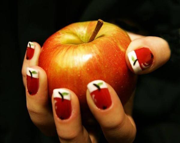 apple nail art design nails