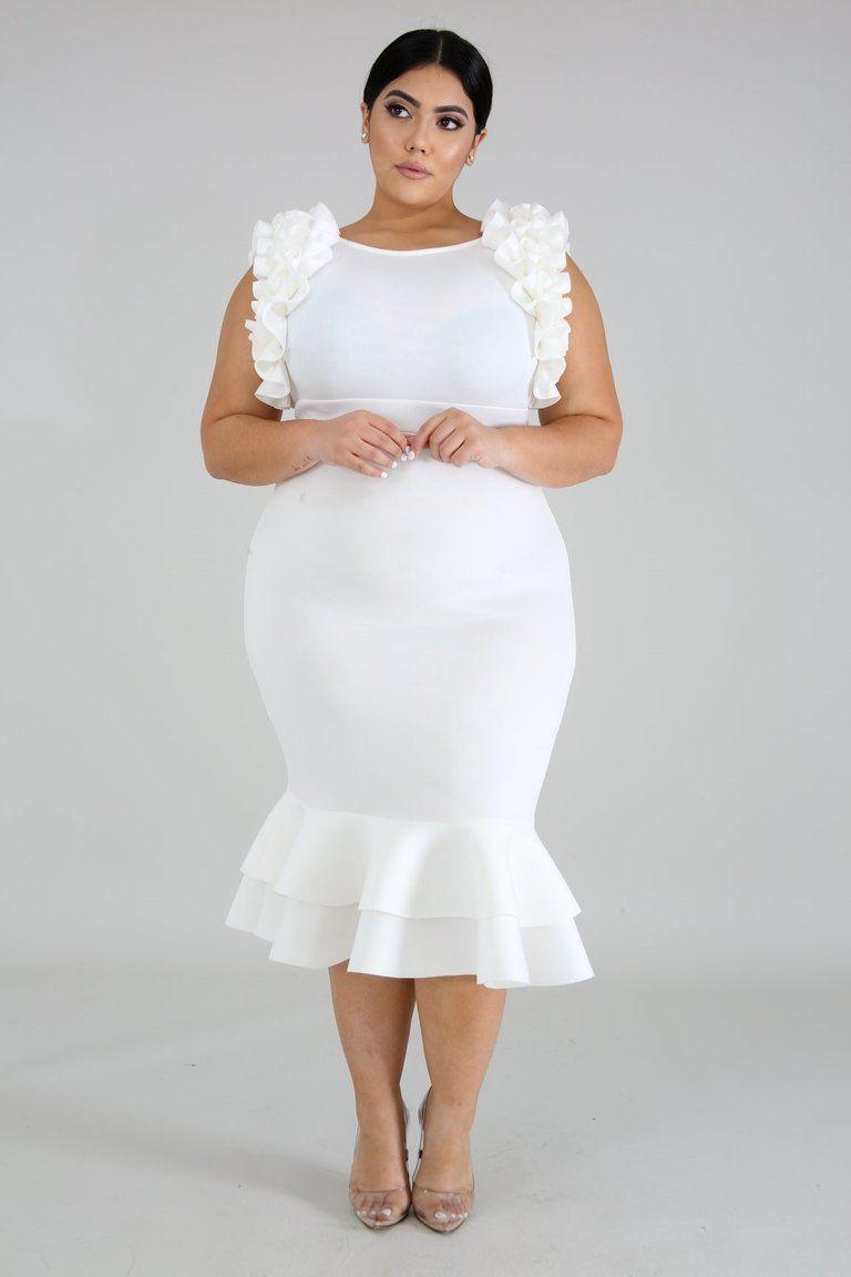 Plus size rumba ruffle mermaid midi dress ivory