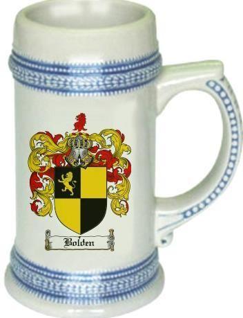 Bolden Coat of Arms / Family Crest tankard stein mug