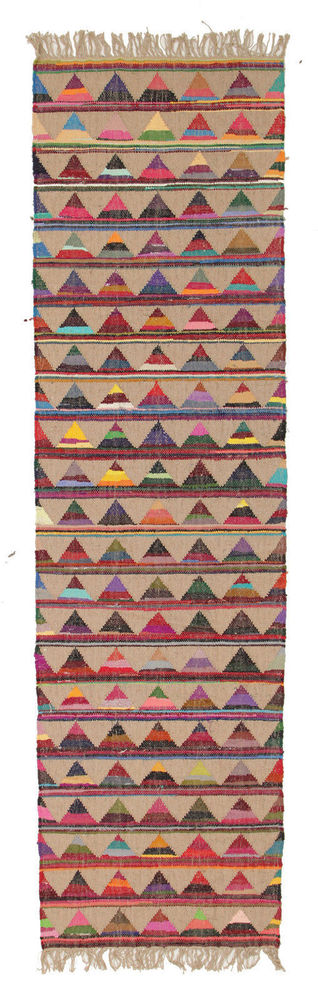 Natural Jute Cotton Colourful Floor Rug Runner 80x400cm Free Delivery