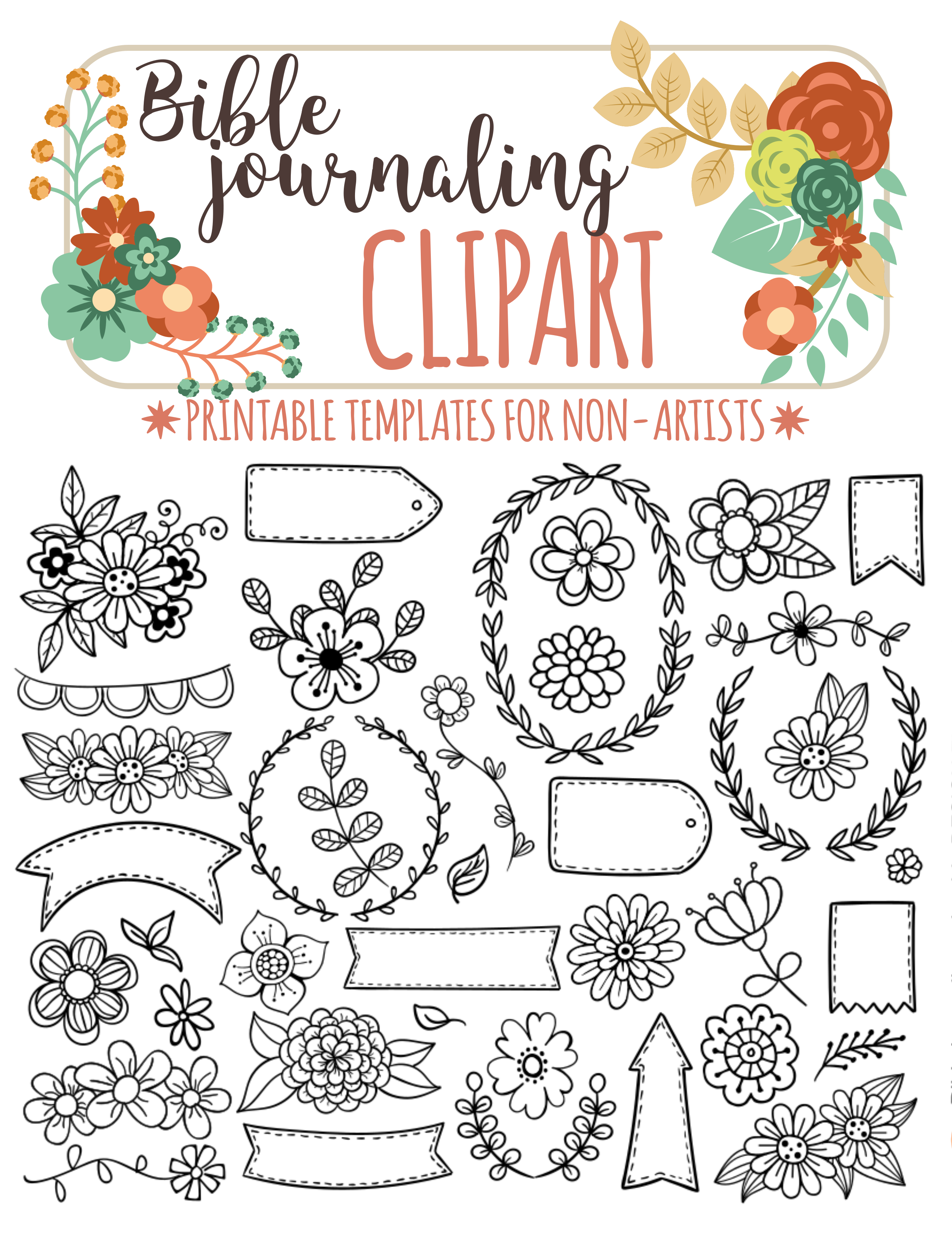 35 Printable Templates For Bible Journaling Verse Art Illustrated Faith Bible Clipart Stamps