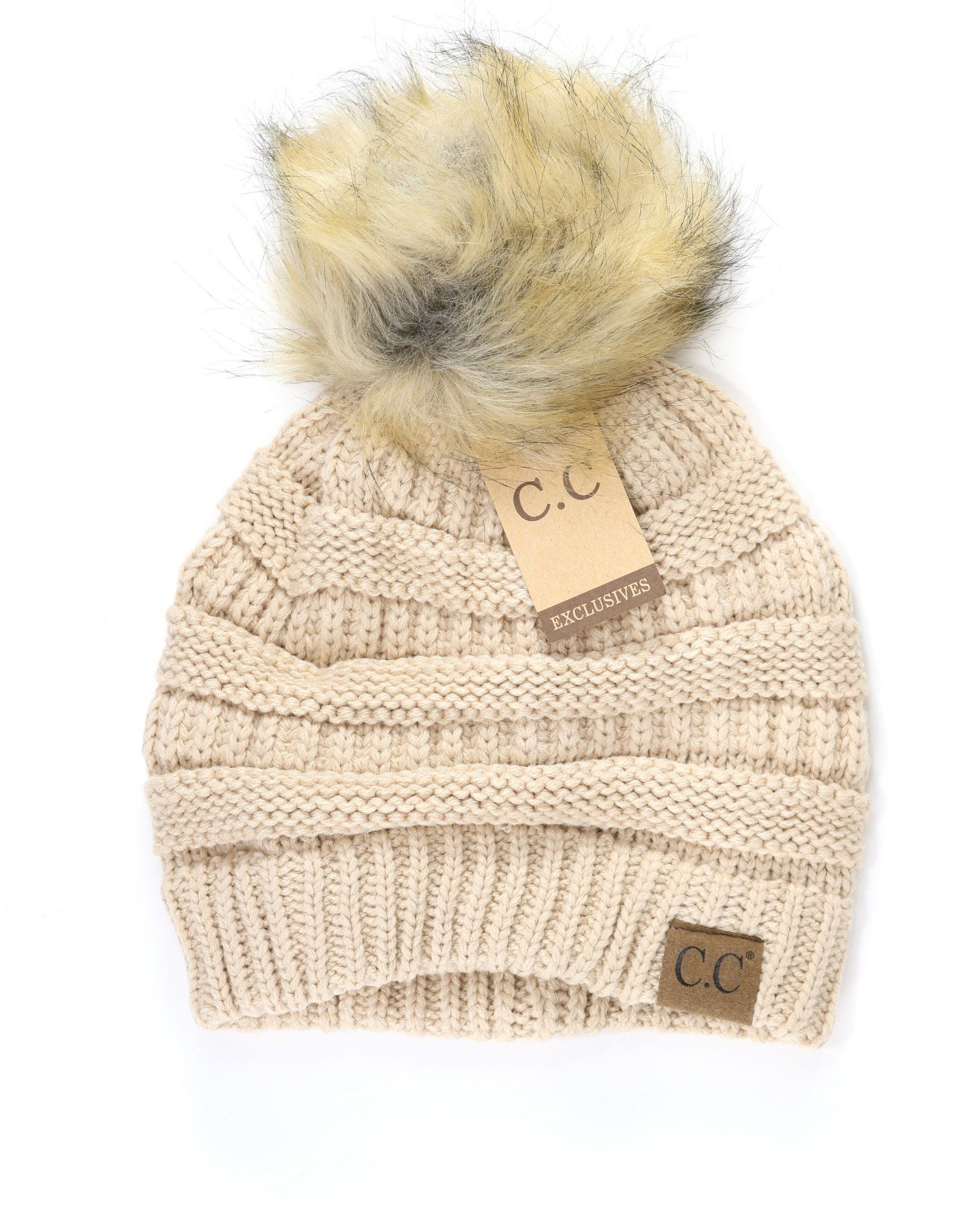 e4959bf36f2 Fur Pom CC Beanie HAT43 in 2019