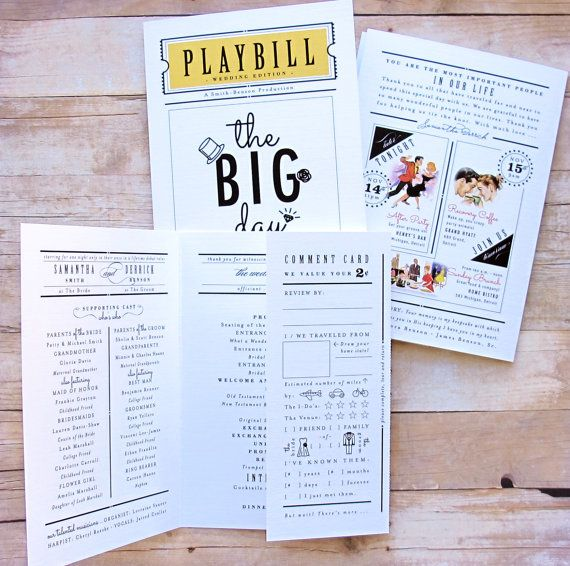 Playbill Wedding Program Theater Inspired 3 Panel Folded | Wedding ...