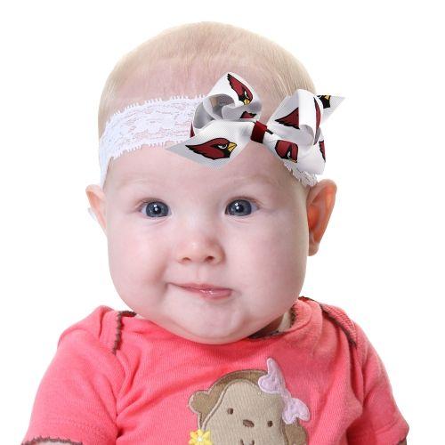 NFL Arizona Cardinals Lace and Bow Toddler Headband - White