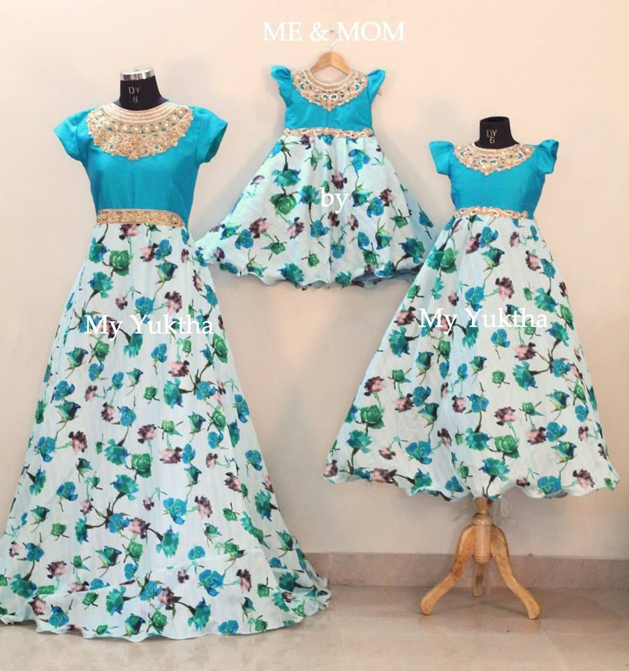 blue floral long frock Mother daugther duo matching